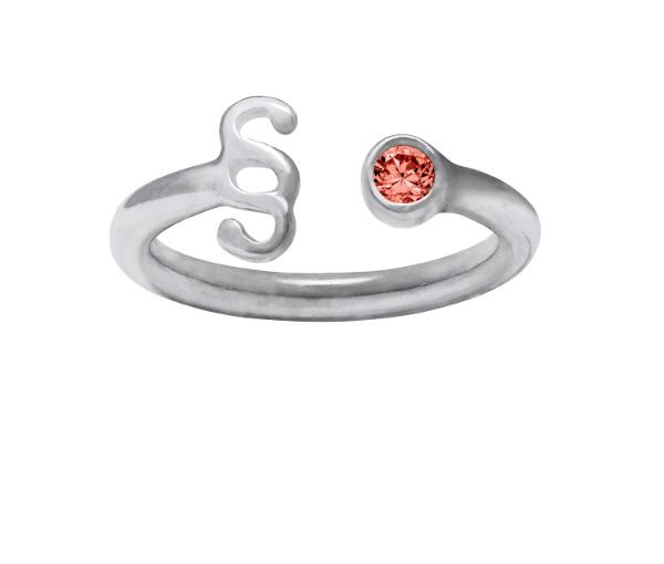 Srebrny pierścionek z paragrafem z czerwoną cyrkonią
