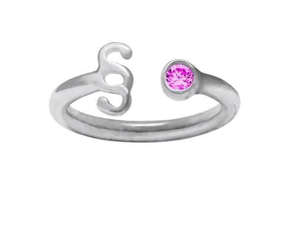 Srebrny pierścionek z paragrafem z fioletową cyrkonią