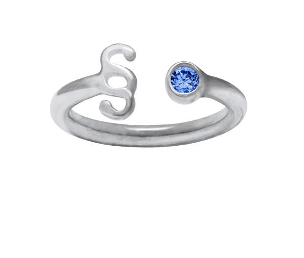 Srebrny pierścionek z paragrafem z niebieską cyrkonią