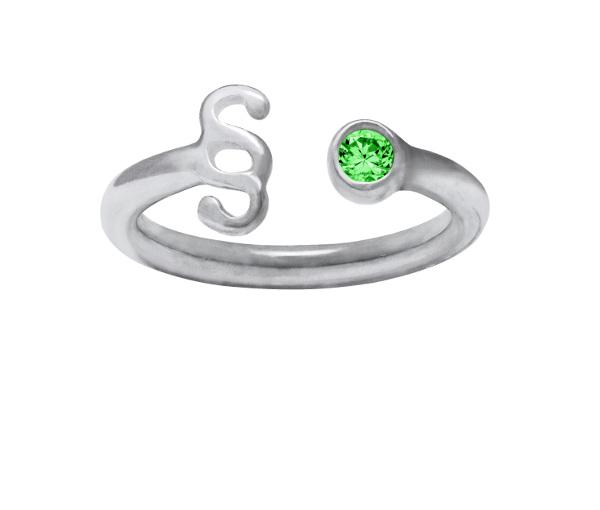 Srebrny pierścionek z paragrafem z zieloną cyrkonią